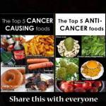 % alimentos que causan y 5 que curan el cancer